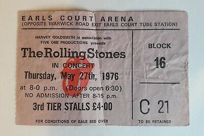 Rolling Stones Original Earls Court Concert Ticket May 27th 1976 used