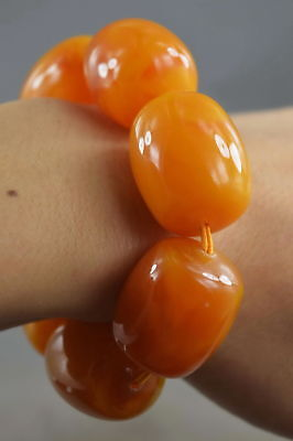 Chinese Handwork Decor Amber Carve Texture Glossy Bead Fashion Usable Bracelet