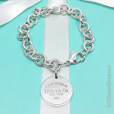 Return to Tiffany & Co. Round Tag Chain Bracelet 925 Sterling Silver 7.5in #494