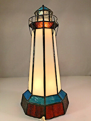 """Dale Tiffany Stained Glass Light House Accent Table Lamp 10"""" Tall"""