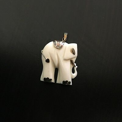 Vintage Carved Buffalo Bovine Bone Elephant Pendant with Silver Bale & Accents
