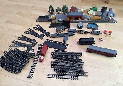 Vintage Triang Job Lot of Train, Carriages, Track, Railway Buildings,platform.