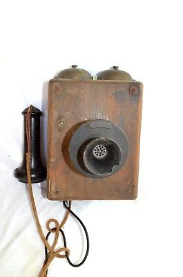 Antique 1907 OAK Wall Telephone  Western Electric Stromberg Carlson type 293 A