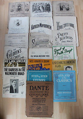 Collection of 19 Vintage & Antique Piano Scores Sheet Music inc Musical Boquet