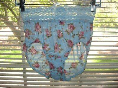 Vtg Olga 23913 Blue Hipster Pantie Pink Cabbage Roses Lace Waist Size 6 ~Rare~