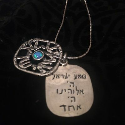 SHEMA YISRAEL NECKLACE 925 STERLING SILVER- Hand made in Israel - Blue Opal