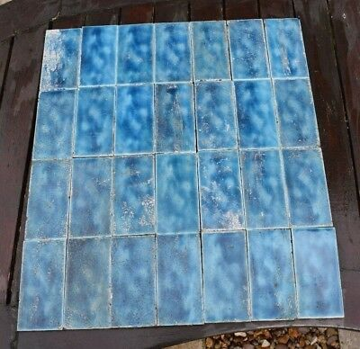 28 x RECLAIMED ORIGINAL VICTORIAN TILES, FIREPLACE TILES BLUE