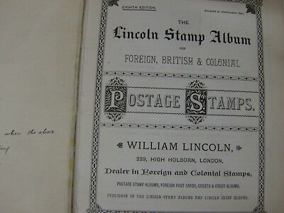 Victorian Lincoln Postage Stamp Album Plus Collection.