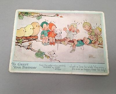 Vintage Valentine's Postcard Mabel Lucie Atwell Fairies Birthday Greetings