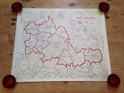 Vintage Map Of West Midlands, England - 61x51cm approx. / 1974