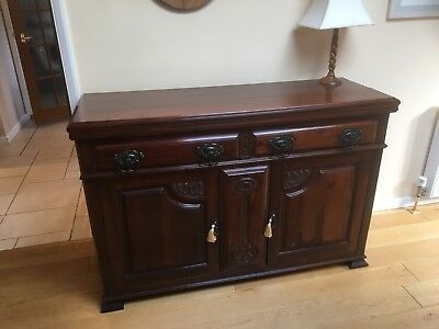 Genuine Antique Victorian Mahogany Sideboard with Carvings