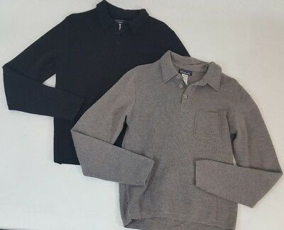 Men Patagonia gray half button merino wool pullover polo sweaters, S Bundle of 2