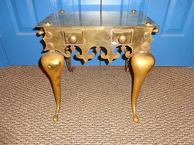 Authentic Antique 19th.c Brass Footman Hearth Stand with Scroll & Dart Skirt