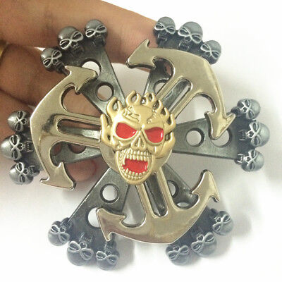 2 in 1 Skull Fidget Spinner with Anchor EDC Game Metal Gyro Toy Desk toy