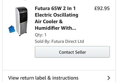 Brand New Futura 65W 2 In 1 Electric Oscillating Air Cooler& Humidifier