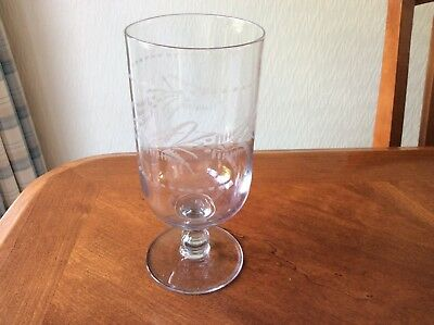 Vintage Etched Glass Celery Jar/Candle Holder
