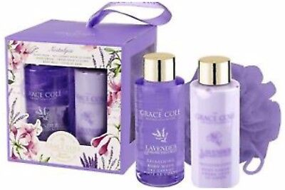 Grace Cole Gift Set Lavender & Honeysuckle Body Wash,  Body Cream & Body Ball