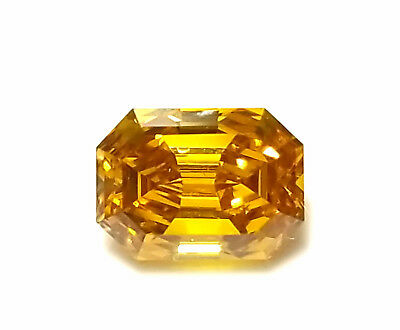 Zimi Diamond - 0.55ct Natural Loose Fancy Vivid Yellow Orange GIA Emerald SI1