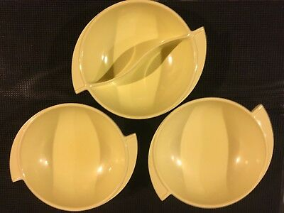 Boonton Ware Yellow Divided Bowl and 2 Soup/Cereal Bowls