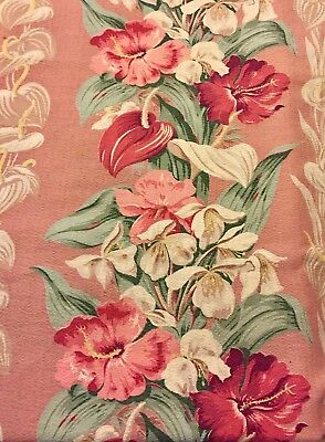 FABRIC PANEL BARKCLOTH Miami Deco Hibicus Anthurium Palm Mid Century TIKI Decor