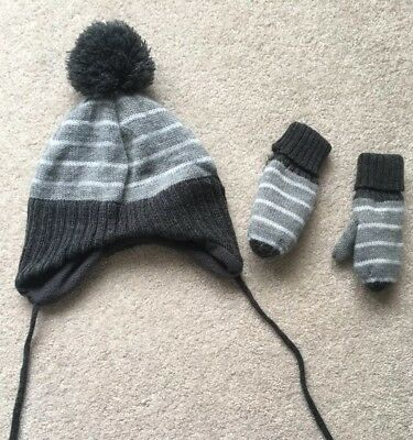 Baby Boys Hat and Mittens Set H&M Age 1-2 Years