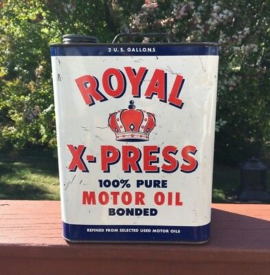 Vintage Royal X-Press Red Crown 100% Motor Oil Bonded Gas Oil Sign Can Very Rare