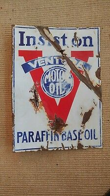 RARE c. 1930s Ventura Motor Oil Gasoline Double Sided Porcelain Flange CA Sign