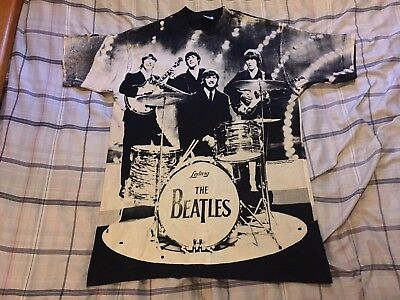 Vintage The Beatles All Over Print Double Sided T Shirt Size Large John Paul