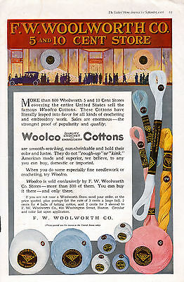 1916 Woolco Cottons -FW Woolworth 5 & 10 Cent stores- large format  11 x 16--ob
