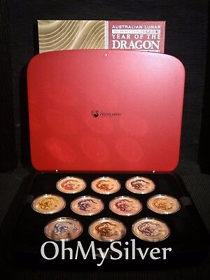 2012 Year of the DRAGON 10-Coin Color 1 oz .999 SILVER COIN SET (PERTH MINT)