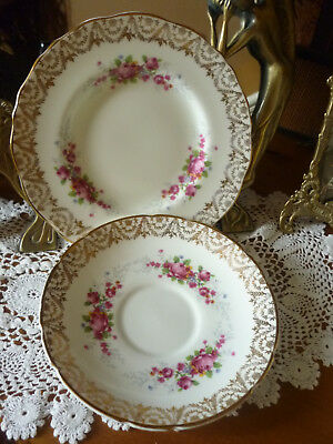 Vintage English China Regency China Dainty Pink & Gold Floral Saucer & Tea Plate
