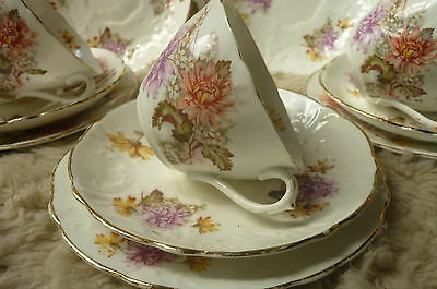 VINTAGE ENGLISH CHINA TRIO FLORAL EMBOSSED CHRYSANTHEMUM TRIO cup saucer plate