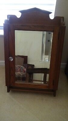 Solid Oak early 1900s vintage medicine cabinet with mirror