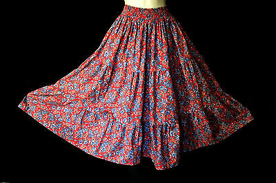 Vintage Laura Ashley Paisley Roses Floral Tiered Maxi Gypsy Skirt, 4, 6, 8,10,12