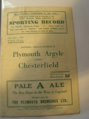 Plymouth Argyle v Chesterfield Division 2 49/50 football programme