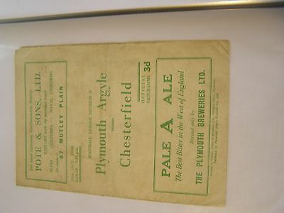 Plymouth Argyle v Chesterfield Division 2 48/9 football programme