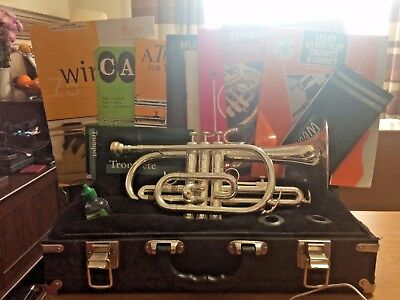 Weril Silver plated brass Bb cornet in case & 9 music leaflets/sheet/manual/oil