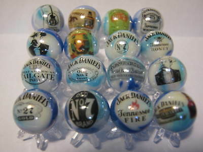 JACK DANIELS WHISKEY WHISKY 5/8 size glass marbles lot collection & STANDS
