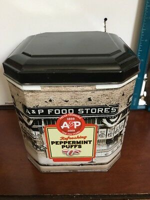 "A & P Food Stores Oval Canister 2009 4x4x4"" Peppermint Puffs"