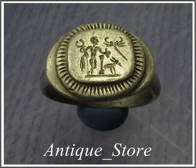 ** MERCURY and CAPRICORN and WINGS ** Ancient Silver Roman Ring ** VERY RARE **