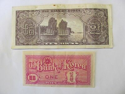 The Bank of Korea 4291 (1958) South Korea 10 Hwan Banknote & One Won Banknote