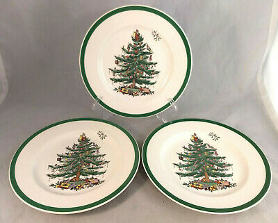 Set of 2 Spode Christmas Tree Salad Plates - Made in England