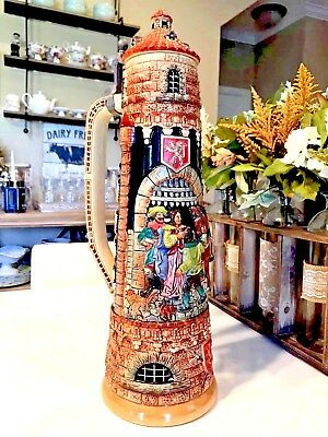 """21"""" Tall Gerz German Lidded Beer Stein, 4L, """"Tower with Knight Farewell""""."""