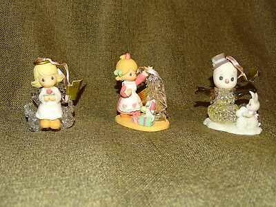 Precious Moments Set of 3 ornaments: Angel, Girl with tree, Snowman