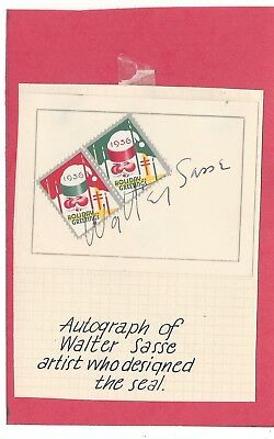 Rare Autograph By Walter Sasse Designer US WX80 CS30 1936 Christmas Seal Wow!!