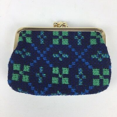 Welsh Wool Tapestry Coin Purse Vintage 2 Compartment Blue Green Black Never Used