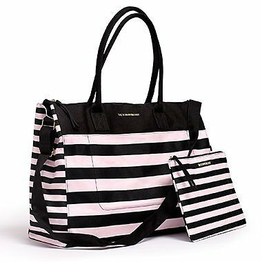 Victoria's Secret SUMMER 2016  Pink Black striped GETAWAY Tote BAG  pouch