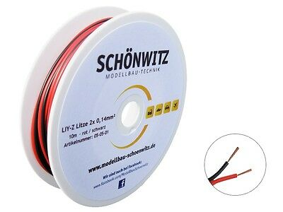 10m Twin Braid Wire Red/Black 2X 0,14mm ² stranded wire Two-Wire Cable on a Reel