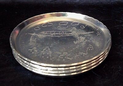 Vintage 1950s+; Set-of-FOUR AIRPLANE Stamped-Aluminum Table-Coasters; 3 1-8 IN