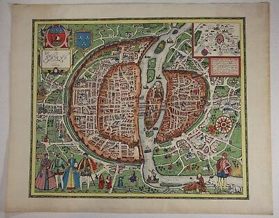 Vintage Hand Colored Antique Map of Paris 1564 Braun and Hogenberg
